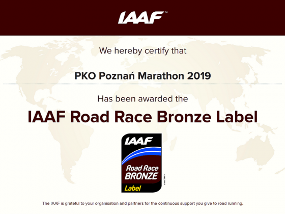 PKO Poznań Maraton 2019 z IAAF Road Race Bronze Label